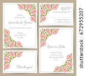 set of wedding cards with hand... | Shutterstock .eps vector #672955207