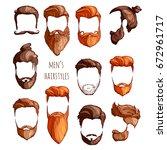 set of men's hairstyles ... | Shutterstock .eps vector #672961717