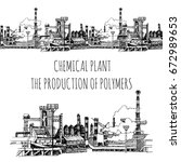 chemical plant  the production... | Shutterstock .eps vector #672989653