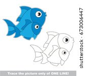funny fish mom and baby to be... | Shutterstock .eps vector #673006447