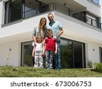 portrait of young happy family...   Shutterstock . vector #673006753