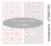 set of 4  seamless pattern with ... | Shutterstock .eps vector #673007293