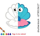funny blue sea shell  the... | Shutterstock .eps vector #673013617