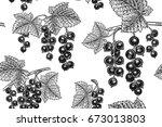 black currant berries. seamless ...   Shutterstock .eps vector #673013803