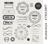 vector set  calligraphic design ... | Shutterstock .eps vector #673015897