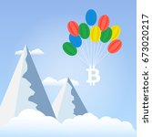 bitcoins with balloons in the... | Shutterstock .eps vector #673020217