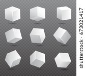 cube  models in perspective. 3d ... | Shutterstock .eps vector #673021417