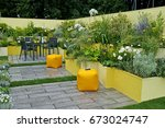 a colourful contemporary... | Shutterstock . vector #673024747