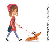 Stock vector woman walking dog 673033933