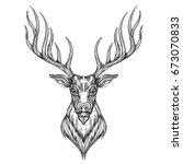 deer head. hand drawn  sketch... | Shutterstock .eps vector #673070833