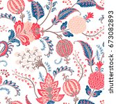 seamless pattern with fantasy... | Shutterstock .eps vector #673082893