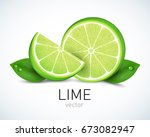 fresh lime slice with leaves...