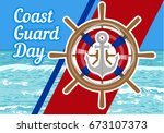 american holiday coast guard... | Shutterstock .eps vector #673107373