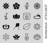 floral icons set. set of 16... | Shutterstock .eps vector #673113637