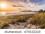 sunrise on main beach  byron... | Shutterstock . vector #673122223