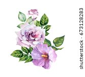 lilac watercolor flowers | Shutterstock . vector #673128283