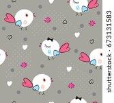 seamless pattern with birds ...   Shutterstock .eps vector #673131583