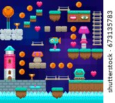 pixel game interface. pixel art.... | Shutterstock .eps vector #673135783