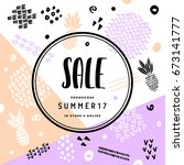 flat hand drawn abstract sale... | Shutterstock .eps vector #673141777