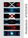 set of 6 banner abstract... | Shutterstock .eps vector #673151623