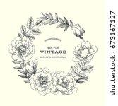 vintage botanical background... | Shutterstock .eps vector #673167127