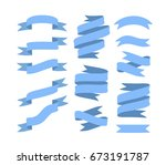 set of hand drawn blue ribbons... | Shutterstock .eps vector #673191787