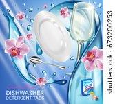 orchid fragrance dishwasher... | Shutterstock .eps vector #673200253
