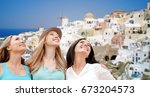 travel  tourism and summer... | Shutterstock . vector #673204573