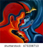 kiss  abstract blue and red oil ... | Shutterstock .eps vector #673208713