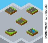 isometric road set of plash ...   Shutterstock .eps vector #673209283