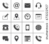 contact vector icons set ... | Shutterstock .eps vector #673222927