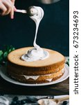 making of sponge cake with... | Shutterstock . vector #673234693