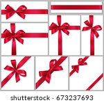 collection of gift box with red ... | Shutterstock .eps vector #673237693