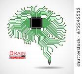 abstract technological brain.... | Shutterstock .eps vector #673243513