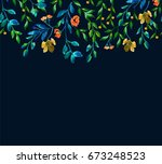 floral watercolor background | Shutterstock . vector #673248523