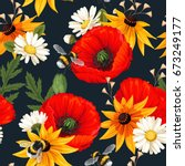 meadow flowers seamless | Shutterstock .eps vector #673249177