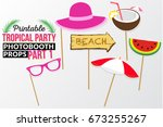 set of printable tropical party ... | Shutterstock .eps vector #673255267