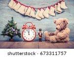 new year tree  teddy bear toy ...   Shutterstock . vector #673311757