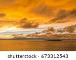 sunrise over the titicaca lake... | Shutterstock . vector #673312543