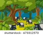 anteaters living in the forest... | Shutterstock .eps vector #673312573