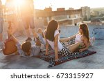 young people chilling out and... | Shutterstock . vector #673315927