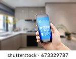 mobile phone with apps on smart ... | Shutterstock . vector #673329787