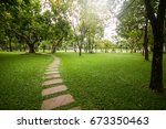 garden for relaxing with green... | Shutterstock . vector #673350463