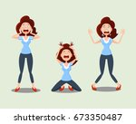 set of emotions of vector icons ... | Shutterstock .eps vector #673350487