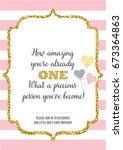 first birthday invitation for... | Shutterstock .eps vector #673364863
