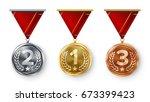 champion medals set vector.... | Shutterstock .eps vector #673399423