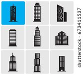 skyscrapers icons | Shutterstock .eps vector #673411537