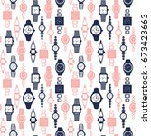 pattern of watches male and... | Shutterstock .eps vector #673423663