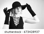 pretty blond girl model like... | Shutterstock . vector #673428937
