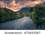 the dramatic sunset with cool... | Shutterstock . vector #673431067